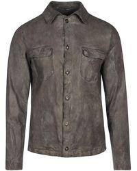Salvatore Santoro Leather Shirt - Grey