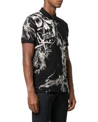 Alexander McQueen Skull Print Polo T-shirt - Black
