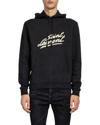 Saint Laurent Logo Print Hoodie - Black