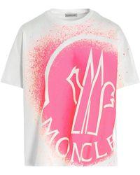 Moncler T-shirt stampa logo - Rosa
