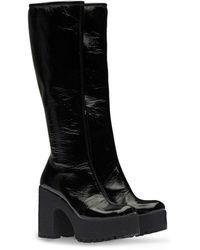 Miu Miu Technical Patent Fabric Platform Boots - Black