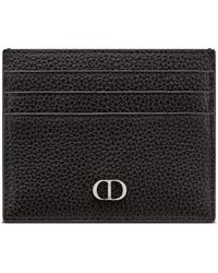 Dior Card Holder 6 Grained Calf Cd Icon - Black