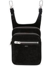 Amiri Embossed Logo Suede Belt Bag - Black