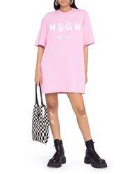 MSGM Abito modello T-shirt con stampa - Rosa