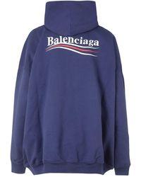 Balenciaga FELPA CON CAPPUCCIO E LOGO - Blu