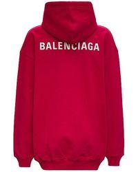 Balenciaga FELPA CON CAPPUCCIO IN JERSEY CON STAMPA LOGO - Rosso