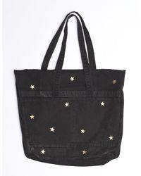 Sundry Gold Stars Foldover Tote - Black