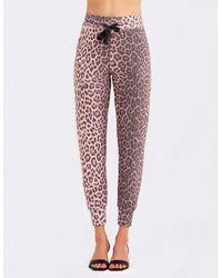 Sundry Animal Print Jogger Sweatpants - Pink