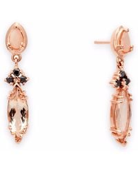 Anna Sheffield - Eleonore Marquise Stud Earrings - Rose Gold & Pink Morganite - Lyst