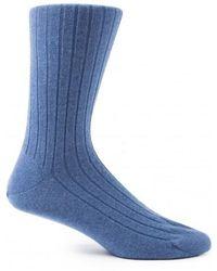 Sunspel - Cashmere Socks In Ash Blue Melange - Lyst