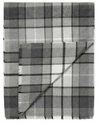Sunspel - Extra Fine Merino Wool Scarf In Light Grey/charcoal Check - Lyst