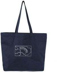 Sunspel Printed Canvas Tote Bag In Navy - Blue