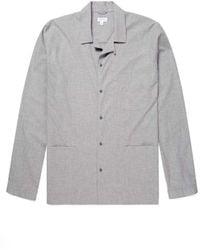 Sunspel Men's Cotton Pyjama Shirt In Mid Grey Melange