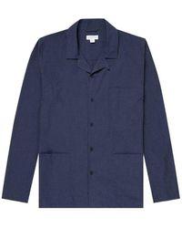 Sunspel Men's Cotton Pajama Shirt In Navy Melange - Blue