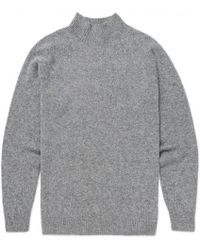 Sunspel - Men's Lambswool Funnel Neck Jumper In Mid Grey Melange - Lyst