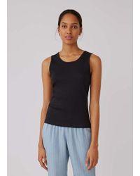 Sunspel Women's Organic Cotton Rib Vest In Black