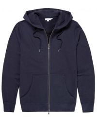 Sunspel - Men's Cotton Loopback Zip Hoody In Navy - Lyst