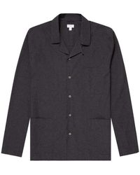 Sunspel Men's Cotton Pyjama Shirt In Charcoal Melange - Grey