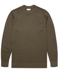 Sunspel Men's Fine Merino Wool Mock Neck Jumper In Military Green