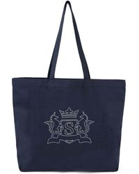 Sunspel Embroidered Tote Bag In Cotton Canvas In Navy - Blue