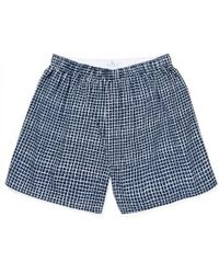 Sunspel - Men's Printed Cotton Boxer Shorts In Navy Shibori Grid - Lyst