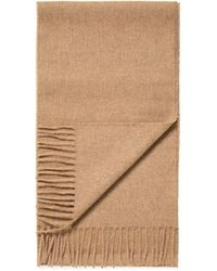 Sunspel Lambswool Woven Scarf In Camel - Natural