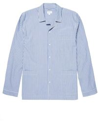 Sunspel Men's Cotton Pajama Shirt In Blue/white Stripe