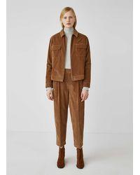 Sunspel Women's Wide Wale Corduroy Pleated Trouser In Dark Camel - Brown
