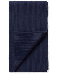 Sunspel Cashmere Rib Scarf In Navy - Blue