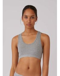 Sunspel - Women's Stretch Cotton Crop Top In Grey Marl - Lyst