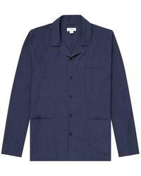 Sunspel Men's Cotton Pyjama Shirt In Navy Melange - Blue