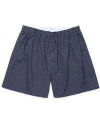 Sunspel - Men's Printed Cotton Boxer Shorts In Geo Dash Navy - Lyst