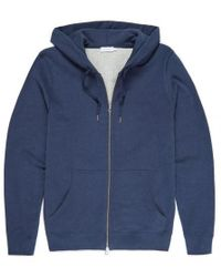 Sunspel - Men's Cotton Loopback Zip Hoody In Navy Melange - Lyst