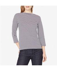 Sunspel - Women's Cotton Boat Neck T-shirt In White/navy English Stripe - Lyst