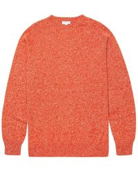 bdb7cdbeea7 Men's Lambswool Crew Neck Jumper In Persimmon Mouline - Multicolour