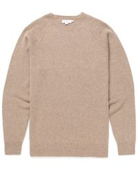 2f9a5c42746 Men's Lambswool Crew Neck Jumper In Oatmeal Melange - Natural