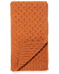 Sunspel Merino Wool Cable Knit Scarf In Burnt Sienna - Multicolour