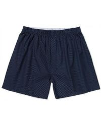 Sunspel - Men's Printed Cotton Boxer Shorts In Navy Polka Dot - Lyst