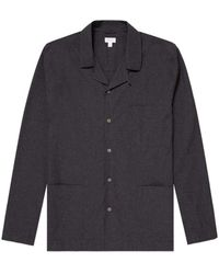 Sunspel Men's Cotton Pajama Shirt In Charcoal Melange - Gray