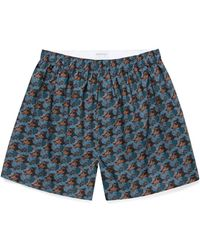 Sunspel Men's Printed Cotton Boxer Shorts In Liberty Leafy Bloom - Blue