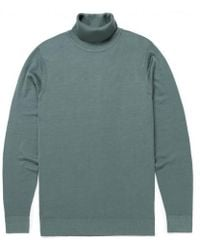 Sunspel - Men's Fine Merino Wool Roll Neck Jumper In Scots Green - Lyst