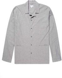 Sunspel Men's Cotton Pajama Shirt In Mid Gray Melange