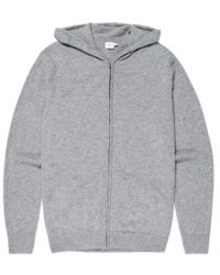 Sunspel - Men's Cashmere Zip Hoody In Grey - Lyst