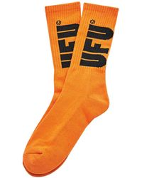 Used Future - Ufu Big Logo Socks Orange - Lyst