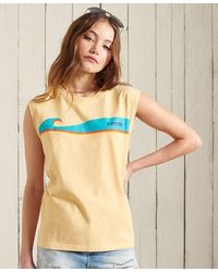 Superdry Cali Surf Classic Logo Tank Top - Yellow