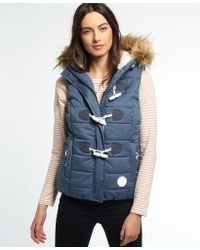 Superdry - Marl Toggle Puffle Gilet - Lyst