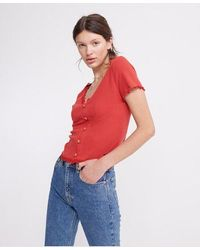 Superdry Lace Trim Pointelle Top - Red