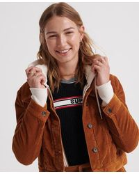 Superdry Cord Girlfriend Jacket - Yellow