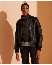 Superdry New York Leather Bomber Jacket - Black
