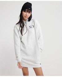 Superdry Edit Quarter Zip Sweat Dress - White